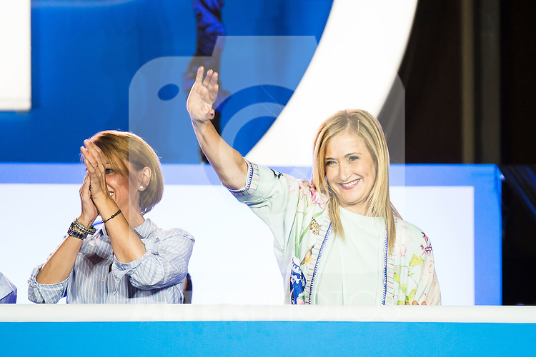 Maria Dolores de Cospedal and Cristina Cifuentes during the celebration of the victory of the Spanish Elections at the headquarter of Partido Popular in Madrid. June 26, 2016. (ALTERPHOTOS/BorjaB.Hojas)