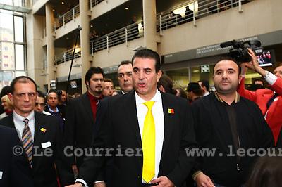 Genève, le 13.11.2011.Elections Municipales à Genève..Arrivée de Eric Stauffer du MCG..© Jean-Patrick Di Silvestro / Le Courrier