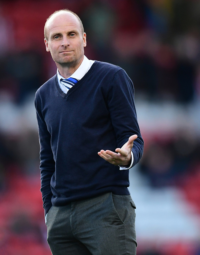Chester manager Jon McCarthy during the pre-match warm-up <br /> <br /> Photographer Chris Vaughan/CameraSport<br /> <br /> Vanarama National League - Lincoln City v Chester - Tuesday 11th April 2017 - Sincil Bank - Lincoln<br /> <br /> World Copyright &copy; 2017 CameraSport. All rights reserved. 43 Linden Ave. Countesthorpe. Leicester. England. LE8 5PG - Tel: +44 (0) 116 277 4147 - admin@camerasport.com - www.camerasport.com