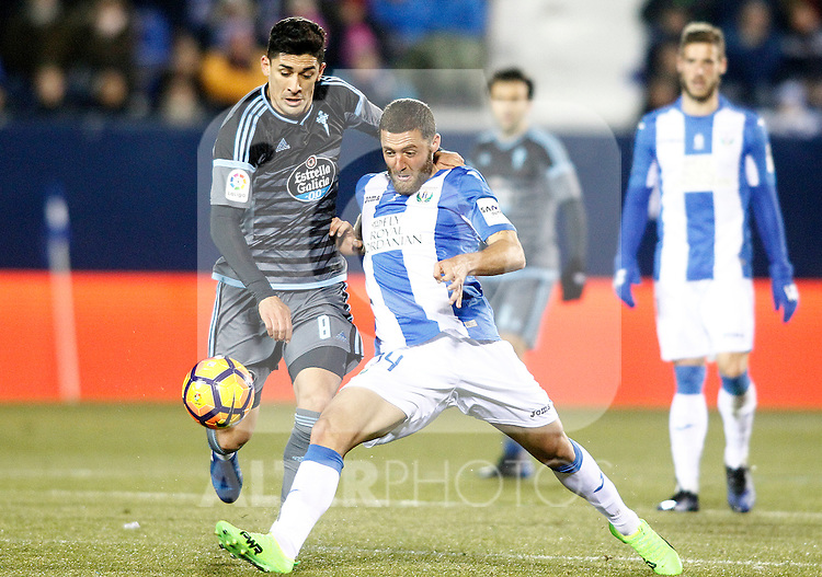 CD Leganes' David Timor (r) and Celta de Vigo's Pedro Pablo Hernandez during La Liga match. January 28,2017. (ALTERPHOTOS/Acero)