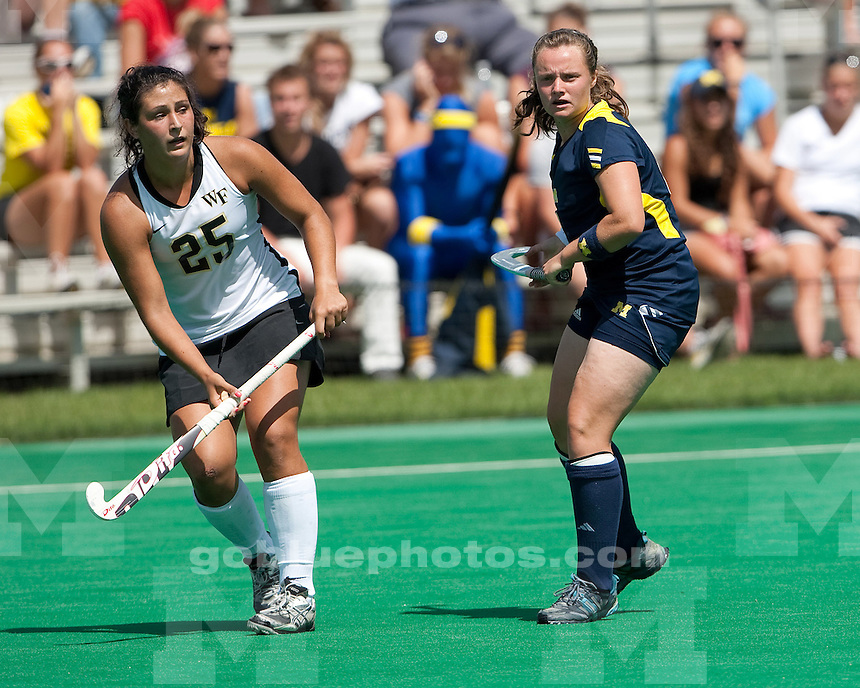 The No. 9-ranked University of Michigan field hockey team defeated No. 11 Wake Forest, 2-1, as part of the ACC/Big Ten Challenge at Ocker Field in Ann Arbor, Mich. on August 28, 2011.