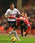 Tottenham's Kyle Walker trips Emre Can of Liverpool - Liverpool vs. Tottenham Hotspurs - Barclay's Premier League - Anfield - Liverpool - 10/02/2015 Pic Philip Oldham/Sportimage