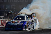 Oct. 28, 2012; Las Vegas, NV, USA: NHRA funny car driver Matt Hagan during the Big O Tires Nationals at The Strip in Las Vegas. Mandatory Credit: Mark J. Rebilas-