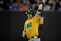 Siena Saints Brendan Conley (1) on deck during a game against the UCF Knights on February 14, 2020 at John Euliano Park in Orlando, Florida.  UCF defeated Siena 2-1.  (Mike Janes/Four Seam Images)