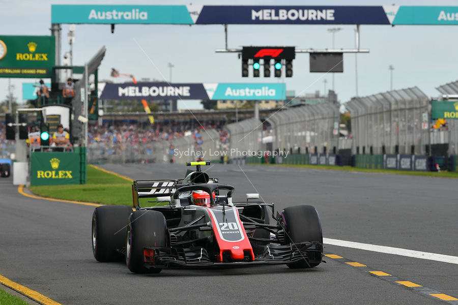 March 24, 2018: Kevin Magnussen (DEN) #20 from the Haas F1 Team leaves the pit for his qualifying lap at the 2018 Australian Formula One Grand Prix at Albert Park, Melbourne, Australia. Photo Sydney Low