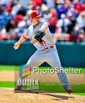 14 March 2010: St. Louis Cardinals' top pitching prospect Shelby Miller on the mound during a Spring Training game against the Washington Nationals at Space Coast Stadium in Viera, Florida. The Cardinals defeated the Nationals 7-3 in Grapefruit League action. Mandatory Credit: Ed Wolfstein Photo