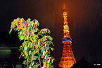 July 7th, 2012 : Tokyo, Japan -  A bamboo with people's wishes was lightened up as Tokyo Tower, one of Tokyo's famous sightseeing spots, was seen behind at Tanabata Festival, a traditional festival to celebrates stars on July 7 every year, at Zojoji, or Zojo Temple, at Shibakouen, Minato, Tokyo, Japan on July 7, 2012. Yet it was heavily raining, and stars couldn't be seen. (Photo by Koichiro Suzuki/AFLO)
