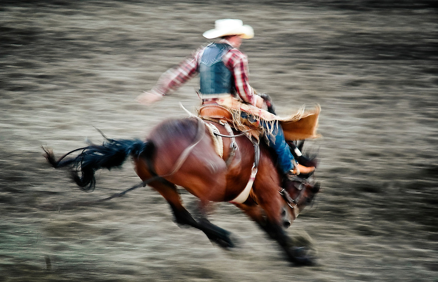 A cowboy holds on tight during the Livingston Roundup Rodeo in Livingston, Montana.