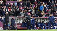 Burnley manager Sean Dyche (left) applauds his sides efforts as Cardiff City manager Neil Warnock (right) remonstrates with fourth official Anthony Taylor<br /> <br /> Photographer Rich Linley/CameraSport<br /> <br /> The Premier League - Saturday 13th April 2019 - Burnley v Cardiff City - Turf Moor - Burnley<br /> <br /> World Copyright © 2019 CameraSport. All rights reserved. 43 Linden Ave. Countesthorpe. Leicester. England. LE8 5PG - Tel: +44 (0) 116 277 4147 - admin@camerasport.com - www.camerasport.com
