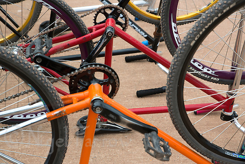 13 SEP 2014 - IPSWICH, GBR - Bikes stand ready for competitors in the pits during the 2014 British Women's Club Cycle Speedway Championships at Whitton Sports & Community Centre in Ipswich, Great Britain (PHOTO COPYRIGHT © 2014 NIGEL FARROW, ALL RIGHTS RESERVED)