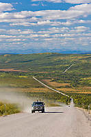 Vehicle on a hill called Beaver Slide, after Finger Mountain of the James Dalton Highway, Interior, Alaska.