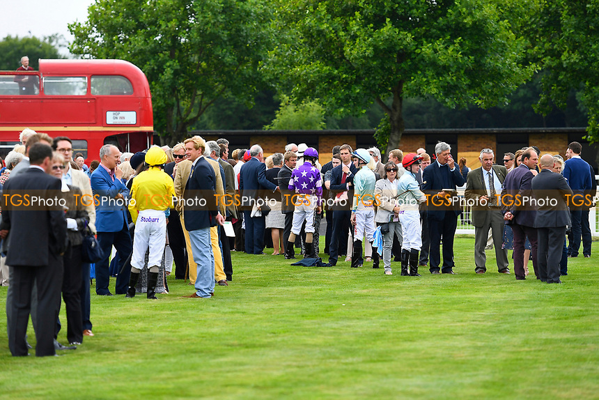 Owners and Trainers in the Parade Ring prior to the first race during Ladies Evening Racing at Salisbury Racecourse on 15th July 2017