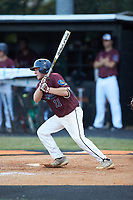 Austin Dayvault (11) of Kannapolis Post 115 follows through on his swing against Mooresville Post 66 during an American Legion baseball game at Northwest Cabarrus High School on May 30, 2019 in Concord, North Carolina. Mooresville Post 66 defeated Kannapolis Post 115 4-3. (Brian Westerholt/Four Seam Images)