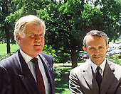 "Washington, DC - (FILE) -- United States Senator Edward M. ""Ted"" Kennedy (Democrat of Massachusetts), left, meets press after meeting with Judge David Souter, right, U.S. President George H.W. Bush's nominee as Associate Justice of the U.S. Supreme Court on August 1, 1990..Credit: Howard L. Sachs / CNP"