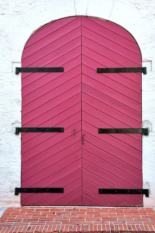 Colorful door in Charlotte Amalle. St. Thomas. US Virgin Islands.