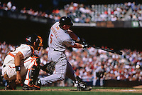 SAN FRANCISCO, CA - Jeff Bagwell of the Houston Astros bats against the San Francisco Giants during a game at AT&T Park in San Francisco, California 2001. Photo by Brad Mangin