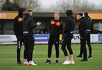Blackpool's Callum Guy with team-mates<br /> <br /> Photographer Kevin Barnes/CameraSport<br /> <br /> The EFL Sky Bet League One - AFC Wimbledon v Blackpool - Saturday 29th December 2018 - Kingsmeadow Stadium - London<br /> <br /> World Copyright &copy; 2018 CameraSport. All rights reserved. 43 Linden Ave. Countesthorpe. Leicester. England. LE8 5PG - Tel: +44 (0) 116 277 4147 - admin@camerasport.com - www.camerasport.com