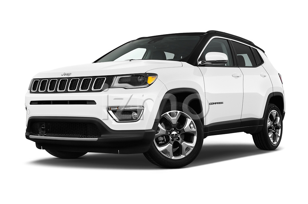 Stock pictures of low aggressive front three quarter view of a 2018 Jeep Compass Limited 4WD 5 Door SUV