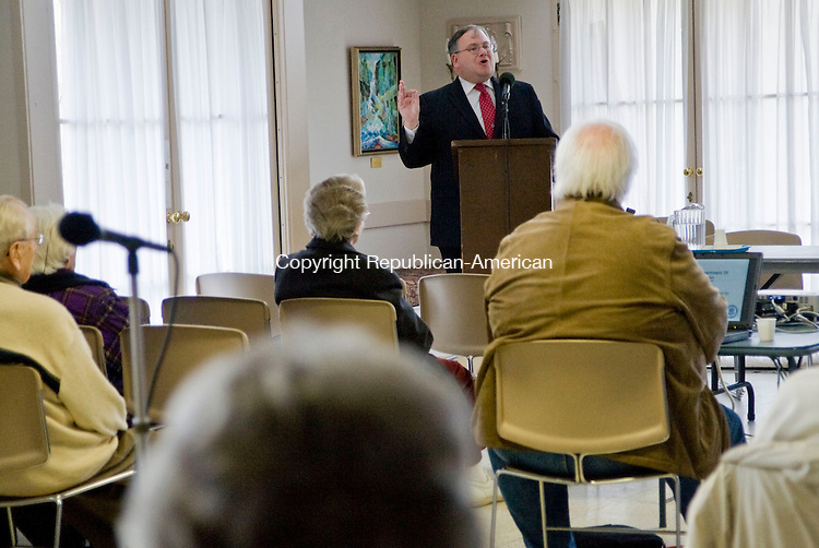 SOUTHBURY, CT - 02 MARCH 2010 -030210JT01--<br /> Jerry Farrell, Jr., commissioner of the State Department of Consumer Protection, speaks during a forum about how senior citizens can avoid being scammed by people posing as Census takers on Tuesday at Heritage Village.<br /> Josalee Thrift Republican-American