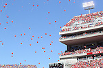 LINCOLN, NE - SEPTEMBER 21, 2013:  Balloons fly over Memorial Stadium in Lincoln, NE Saturday after the first touchdown by the Nebraska Cornhuskers in their contest against the South Dakota State University Jackrabbits.  (Photo by Dick Carlson/Inertia)