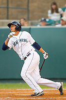 Jose Rivero #58 of the Pulaski Mariners follows through on his swing against the Greeneville Astros at Calfee Park August 29, 2010, in Pulaski, Virginia.  Photo by Brian Westerholt / Four Seam Images