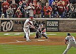 13 October 2012: Washington Nationals rookie outfielder Bryce Harper in action during Postseason Playoff Game 5 of the National League Divisional Series against the St. Louis Cardinals at Nationals Park in Washington, DC. The Cardinals rallied with four runs in the 9th inning to defeat the Nationals 9-7; thus winning the NLDS and moving on to the NL Championship Series. Mandatory Credit: Ed Wolfstein Photo