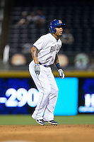 Desmond Jennings (13) of the Durham Bulls takes his lead off of second base against the Indianapolis Indians at Durham Bulls Athletic Park on August 4, 2015 in Durham, North Carolina.  The Indians defeated the Bulls 5-1.  (Brian Westerholt/Four Seam Images)