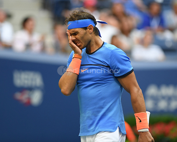 FLUSHING NY- SEPTEMBER 04: Lucas Pouille Vs Rafael Nadal on Arthur Ashe Stadium at the USTA Billie Jean King National Tennis Center on September 4, 2016 in Flushing Queens. Credit: mpi04/MediaPunch