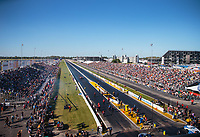 Sep 22, 2018; Madison, IL, USA; Overall view of Gateway Motorsports Park during NHRA qualifying for the Midwest Nationals. Mandatory Credit: Mark J. Rebilas-USA TODAY Sports