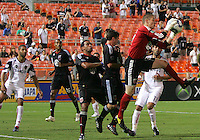 Troy Perkins #23 of D.C. United picks off thee ball in front of Javier Morales #11  of Real Salt Lake during an Open Cup match at RFK Stadium, on June 2 2010 in Washington DC. DC United won 2-1.