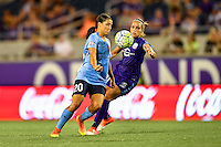 Orlando, FL - Saturday September 10, 2016: Samantha Kerr, Monica Hickman Alves during a regular season National Women's Soccer League (NWSL) match between the Orlando Pride and Sky Blue FC at Camping World Stadium.