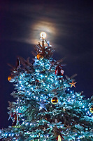 A near full moon rises behind the Otterbein University Christmas Tree.