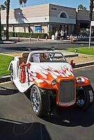 Golf Cart Custom Orange White Flame Decal