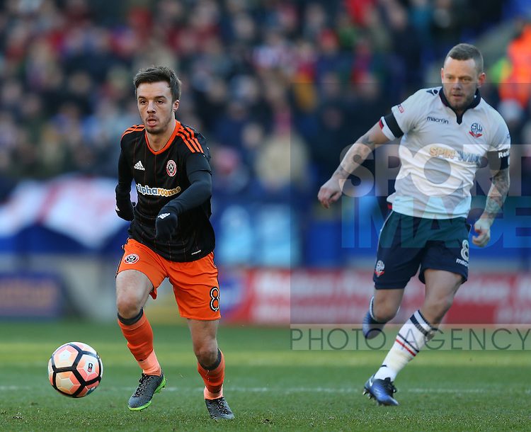 Stefan Scougall of Sheffield Utd during the FA Cup Second round match at the Macron Stadium, Bolton. Picture date: December 4th, 2016. Pic Simon Bellis/Sportimage