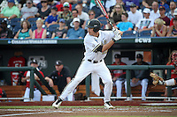 Bryan Reynolds #20 of the Vanderbilt Commodores bats during Game 2 of the 2014 Men's College World Series between the Vanderbilt Commodores and Louisville Cardinals at TD Ameritrade Park on June 14, 2014 in Omaha, Nebraska. (Brace Hemmelgarn/Four Seam Images)