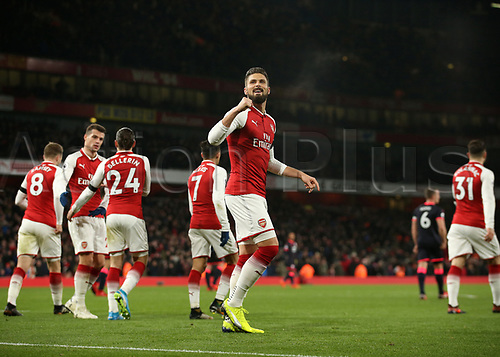 29th November 2017, Emirates Stadium, London, England; EPL Premier League football, Arsenal versus Huddersfield Town; Olivier Giroud of Arsenal celebrates after scoring in the 2nd half to make it 2-0