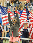 Serena Williams (USA) defeats Victoria Azarenka (BLR) in three sets in the women's final at the US Open being played at USTA Billie Jean King National Tennis Center in Flushing, NY on September 8, 2013