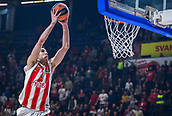 22nd March 2018, Aleksandar Nikolic Hall, Belgrade, Serbia; Turkish Airlines Euroleague Basketball, Crvena Zvezda mts Belgrade versus Fenerbahce Dogus Istanbul; Guard Ognjen Dobric of Crvena Zvezda mts Belgrade jumps to dunk on the basket
