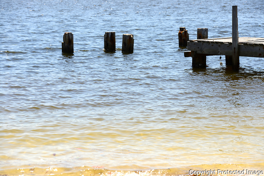A tranquil scene revealing a small dock and rotting pilings on the intracoastal waterway near Boynton Beach, Florida,