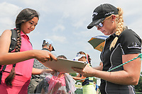 Stephanie Meadow (NIR) signs autographs for young fans enroute to 16th tee during Wednesday's preview of the 72nd U.S. Women's Open Championship, at Trump National Golf Club, Bedminster, New Jersey. 7/12/2017.<br /> Picture: Golffile | Ken Murray<br /> <br /> <br /> All photo usage must carry mandatory copyright credit (&copy; Golffile | Ken Murray)