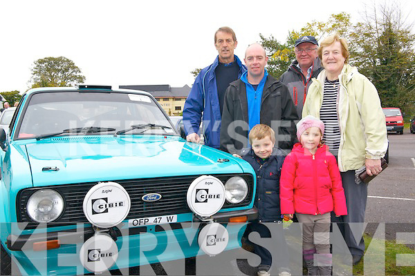 John Donoghue, Gen, Denis and Noreen O'Sullivan & Darragh and Millie Coffey at the Charity Car Run in aid of the Kerry/Cork Health Link Bus at The Brehon last Sunday.