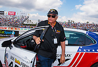 "Mar 15, 2019; Gainesville, FL, USA; NHRA driver Don Prudhomme during the Toyota ""Unfinished Business"" legends race at qualifying for the Gatornationals at Gainesville Raceway. Mandatory Credit: Mark J. Rebilas-USA TODAY Sports"