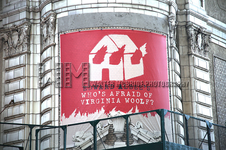 """Theatre Marquee unveiling  for  """"Who's Afraid of Virginia Woolf?"""" Starring Laurie Metcalf and Rupert Everett at the Booth Theatre on January 24, 2020 in New York City."""