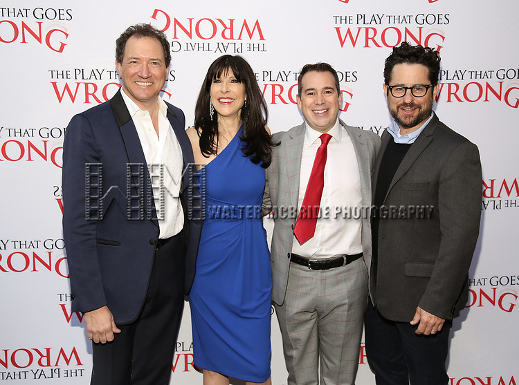 Kevin McCollum, Catherine Schreiber, Kenny Wax and J.J. Abrams attends 'The Play That Goes Wrong' Broadway Opening Night at the Lyceum Theatre on April 2, 2017 in New York City.