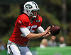 Josh McCown #15, quarterback, takes a snap during New York Jets Training Camp at the Atlantic Health Jets Training Center in Florham Park, NJ on Thursday, Aug. 3, 2017.
