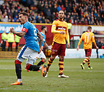31.3.2018: Motherwell v Rangers: <br /> James Tavernier scores from the penalty spot and celebrates