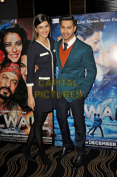 LONDON, ENGLAND - DECEMBER 1:  Kriti Sanon and Varun Dhawan attending the 'Dilwale' photocall at Montcalm Hotel on December 1, 2015 in London, England.<br /> CAP/MAR<br /> &copy;MAR/Capital Pictures