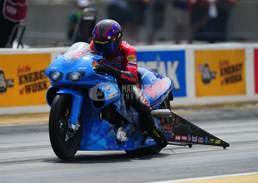 Jul, 10, 2011; Joliet, IL, USA: NHRA pro stock motorcycle rider Chip Ellis during the Route 66 Nationals at Route 66 Raceway. Mandatory Credit: Mark J. Rebilas-