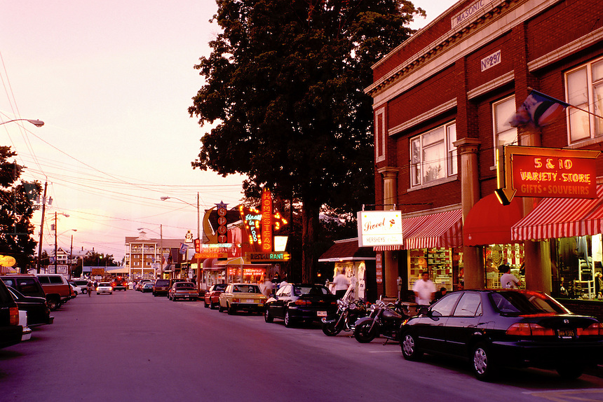 Thousand Islands, Alexandria Bay, New York, NY, Shops along the street in downtown in the evening in Alexandria Bay.