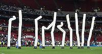 FUSSBALL  CHAMPIONS LEAGUE  FINALE  SAISON 2013/2014  24.05.2013 Real Madrid - Atletico Madrid Zehn Flatterbaender flattern am Winnersbogen